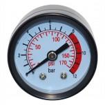 Манометр для воздушного компрессора (малый металл)резьба 13мм.