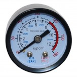 Манометр для воздушного компрессора (малый металл) резьба 10мм.